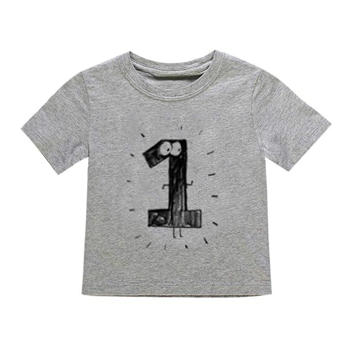 HCFKJ Ropa De Bebe Bebé ReciéN Nacido NiñOs NiñO Chica NúMero Dibujos Animados Camiseta De Manga Corta Camiseta Tops Ropa: Amazon.es: Ropa y accesorios