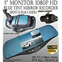 JDM 300mm Blue Tint Mirror + 1080P 5 Monitor Front Back Car Camera Interior Rear view Mirco SD Easy Clip on