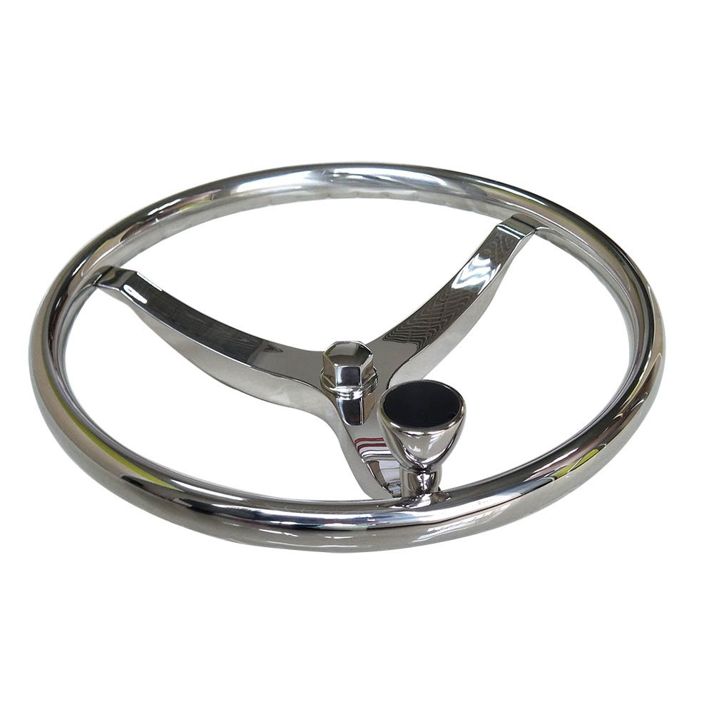 Marinebaby Sports Steering Wheel 13-1/2'' with KNOB and a 1/2''-20 Retaining Nut, Pressed Finger Grip for Better Control & Eye CATCHING Style. Fits 3/4'' Shaft Rim Size 1'' by Marinebaby