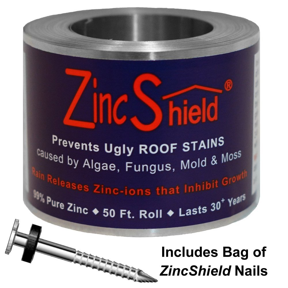 ZincShield Pure Zinc Strip to Avoid Ugly Roof Stains from Moss, Algae, Fungus, and Mildew, 50 Foot Roll (3.5'') - Includes Bag of Nails - Made in the USA