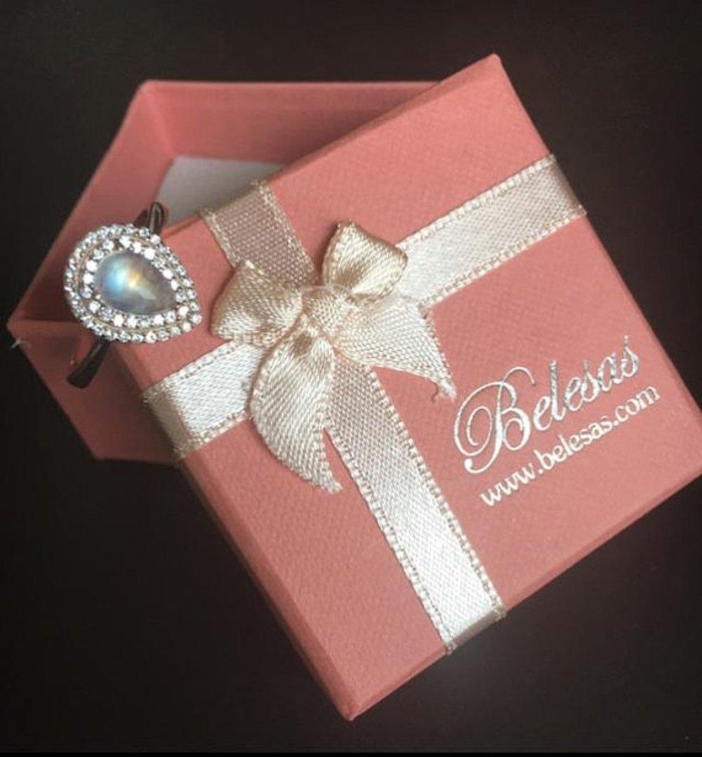Amazon.com: Moonstone Engagement Ring- Rose Gold Promise Ring- Halo ...