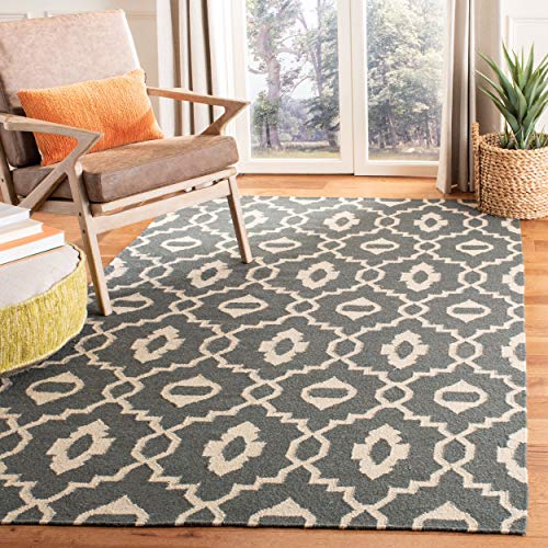 Safavieh Dhurries Collection DHU205C Hand Woven Chocolate and Ivory Premium Wool Area Rug (5' x ()