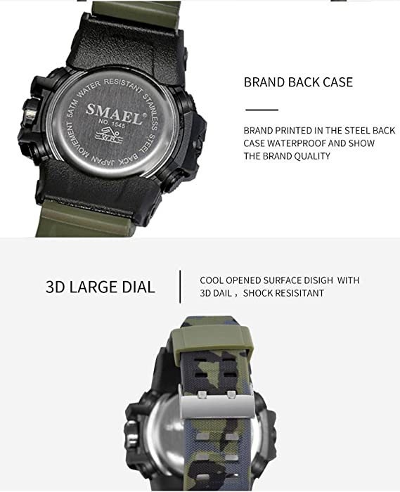 ... Sports Analog Quartz Watch Dual Display Waterproof Digital Watches with LED Backlight relogio masculino El Movimiento de los relojes: Sports & Outdoors