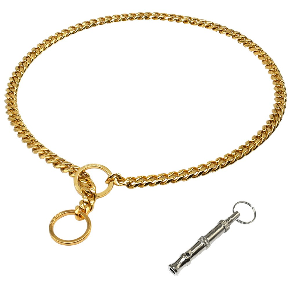 Didog Luxury Titan Choke Chain Collar,Dog Training Collars,Best for Pit Bull,Doberman,Mastiff,Bulldog,Golden,30 Inch by Didog