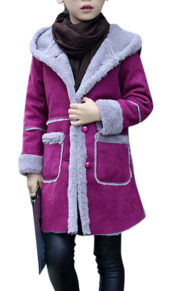Girl's Winter Shearling Lined Cashmere Suede Jacket Long Sleeve Hooded Outerwear 150 Purple