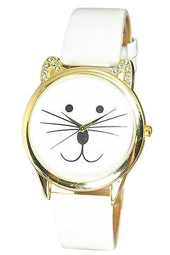 Reloj de pulsera de cara de gato - SODIAL(R)Reloj de pulsera de estras de cara de gato para mujeres blanco: Amazon.es: Relojes