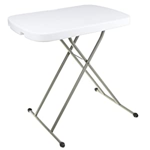 """Everyday Home 75-TAB1001 Folding, Foldable Table and TV Tray, 26 x 18 x 27 (for Laptops), 26'' x 18"""" x 28"""", White"""