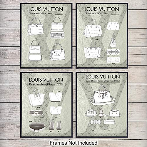 Louis Vuitton Purse Handbags Patent Art Prints - Vintage Wall Art Poster Set - Chic Home Decor for Bedroom, Bathroom - Great Gift for Women, Fashionistas, Designer Fashion Fans - 8x10 Photo - Unframed