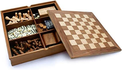 Chess Table Backgammon Set Vintage Antique Style Game Stand Tabletop Storage New