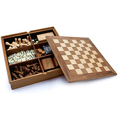 Wooden 7-in-1 Chess, Checkers, Backgammon, Playing Cards, Dice, Dominoes and Cribbage Board Game Combo Set