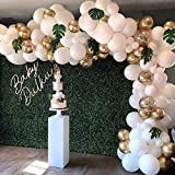 Balloon Garland Arch Kit, White Gold Confetti Balloons 101 PCS, Artificial Palm Leaves 6 PCS, Balloons for Parties, Party Wedding Birthday Balloons Decorations, Baby Shower Decorations for Girl Boy: more info