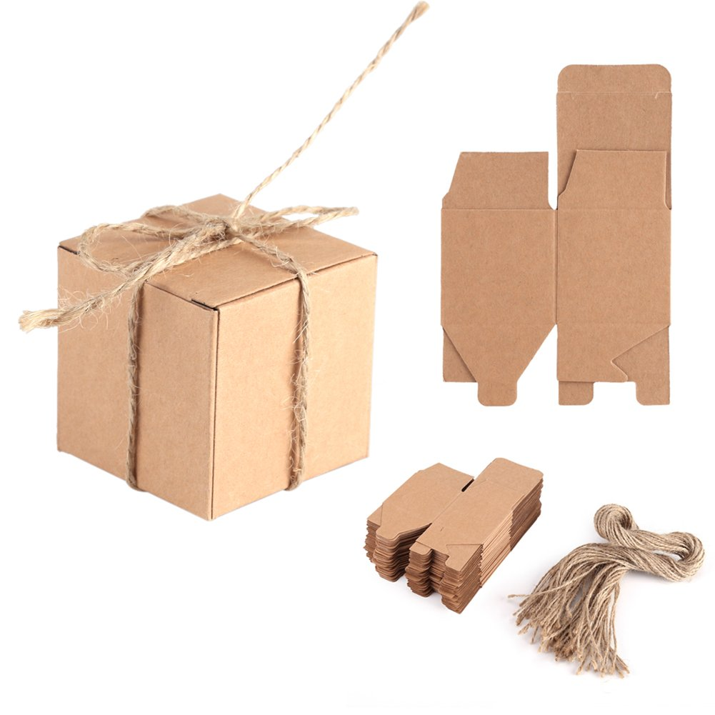 Delaman 50pcs Kraft Paper Candy Box Square Rustic Wedding Favors Candy Holder Bags Wedding Party Gift Boxes with Hemp Ropes CM-0424