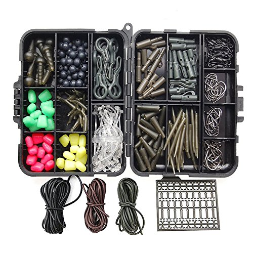 Swivel Sleeves (Shaddock Fishing 265pcs/box Carp Fishing Tackle Kit Swivels/Hooks/Sleeves/Rubbers Tubes/Lead Clips/Beads/Hair Rigs/Hair Extender Stoppers Set)