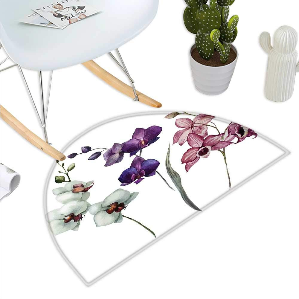 color09 H 51.1  xD 76.7  Watercolor Flower Semicircle Doormat Hibiscus Flowers on Plain Background in Pastel colors Nature Home Decor Halfmoon doormats H 27.5  xD 41.3  White Red Green