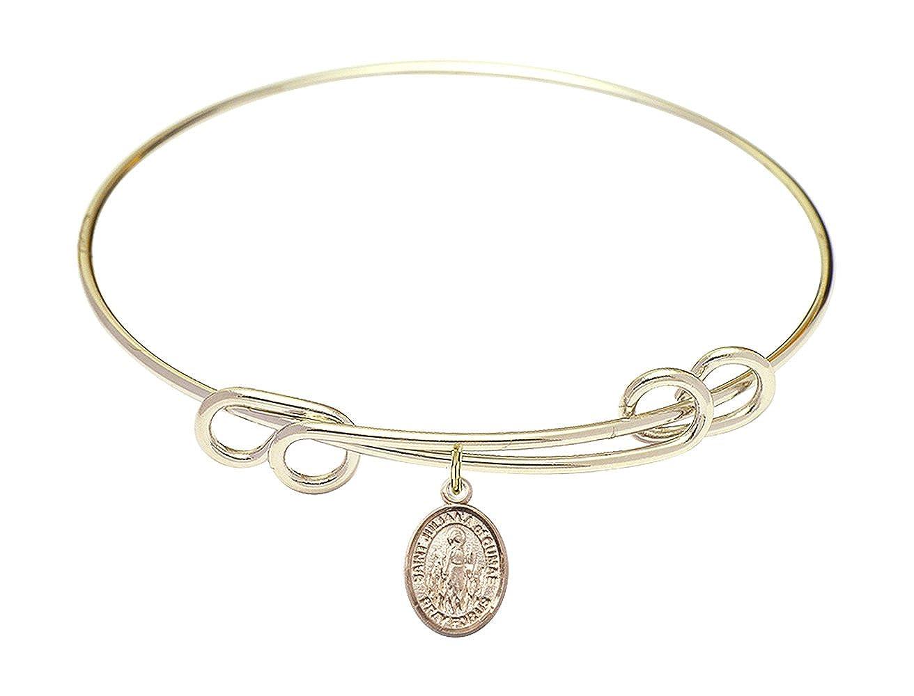DiamondJewelryNY Double Loop Bangle Bracelet with a St Juliana of Cumae Charm.