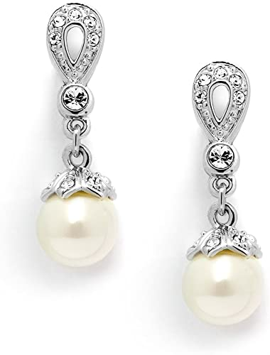 Mariell Silver Platinum CZ and Ivory Pearl Bridal /& Wedding Clip On Earrings