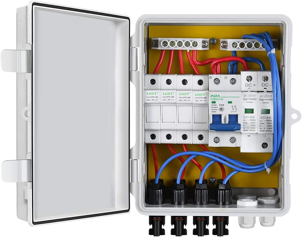 ECO-WORTHY 4 String PV Combiner Box with Lightning Arreste, 10A Rated Current Fuse and Circuit Breakers for On/Off Grid Solar Panel System: Industrial & Scientific
