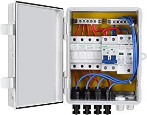ECO-WORTHY 4 String PV Combiner Box with Lightning Arreste, 10A Rated Current Fuse and Circuit Breakers for On/Off Grid Solar Panel System