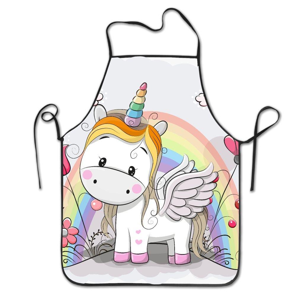 Cute Cartoonユニコーンと虹on the meadowデラックスエプロンPersonalized印刷キッチンエプロン   B07BKQWN5S