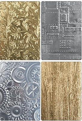 Tim Holtz Sizzix 3D Texture Fades Embossing Folders - Botanical, Lumber, Mechanics and Foundry - 4 item bundle