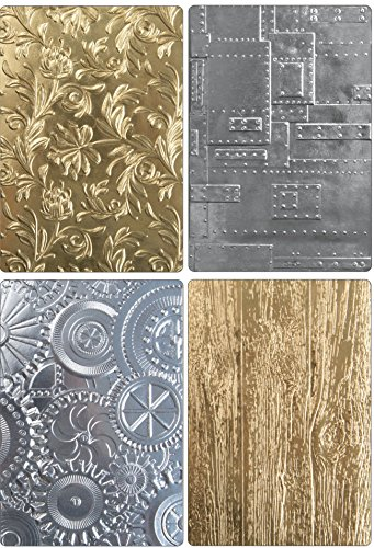 Tim Holtz Sizzix 3D Texture Fades Embossing Folders - Botanical, Lumber, Mechanics and Foundry - 4 item bundle by Tim Holtz