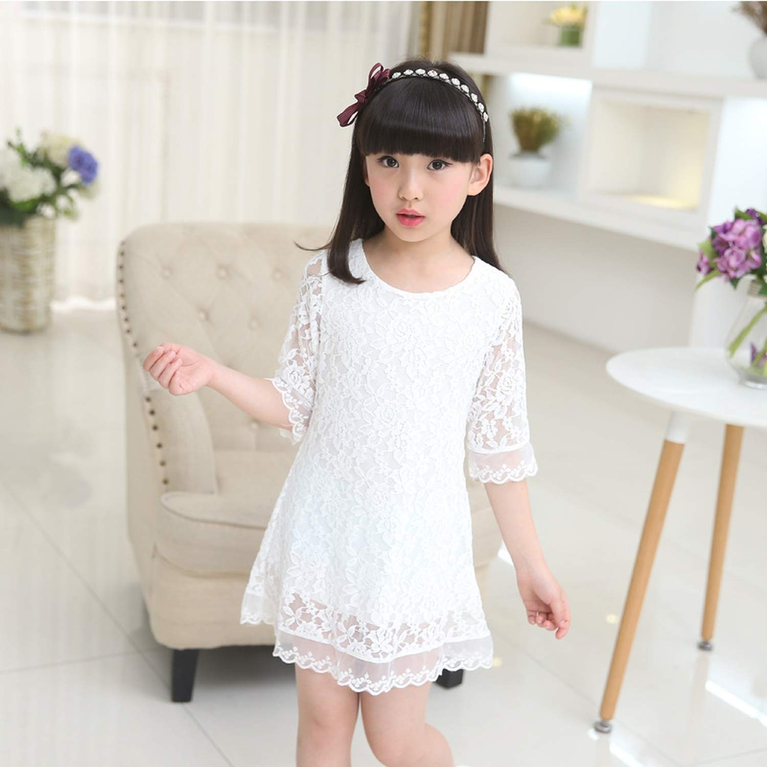 Kids 2018 Summer Autumn Lace Dress White Large Size Girls Dress Princess 3 4 6 8 10 12 14 16 18 Years Old Baby Girl,White,7 by Gooding Day (Image #6)