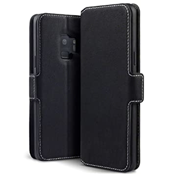 wholesale dealer 67b14 f771a TERRAPIN, Compatible with Samsung S9 Case, Slim Fit Leather Wallet Flip  Cover with Stand - Black