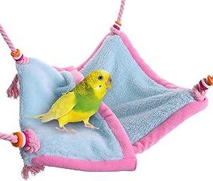 QBLEEV Bird Cage Fleece Hammock Parrot Warm Nest Hut Bed House Bedding Budgie Snuggle Swing Tent Set Sleeping Bag Birdcage Decor Accessories Habitats Toy for Small Lizard Rat Hamster Parakeets Ferret