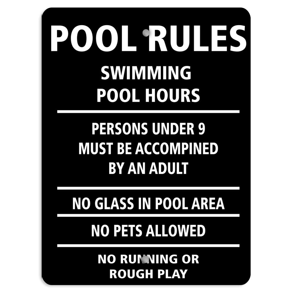 Pool Rules: No Glass Pets Use Pool Under 9 with Adult Aluminum Weatherproof Metal Sign Vertical Street Signs 18X24Inches by Sign Destination
