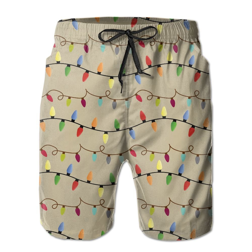 Mens Christmas Lights Quickly Drying Lightweight Fashion Board Shorts Swim Trunks XL
