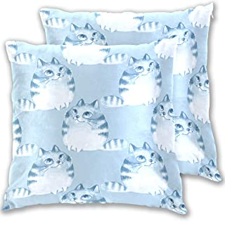 CIXUAN Cute Kawayi Blue Cats Decorative Throw Pillow Case Cushion Cover 20 x 20 in for Bed Couch Sofa Living Room, Set of 2