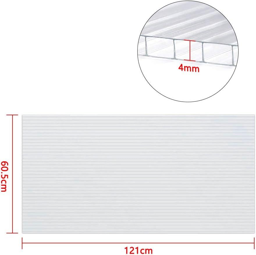 NAIZY Lot de 14 plaques Creuses en Polycarbonate de 4 mm 10,25 m/² pour Serre de Jardin ou Serre 60,5 x 121 cm
