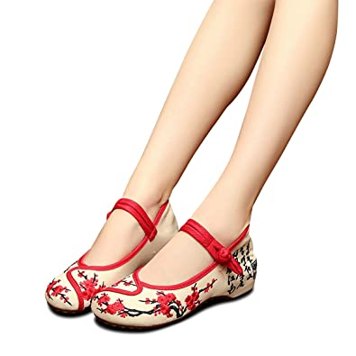 63ef9385114f5 Amazon.com | Veowalk Plum Flower Embroidered Women Canvas Shoes Mary ...