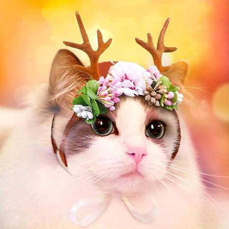 GFEU Disfraz de Navidad para Mascota, Gato, Perro, Cuernos ...