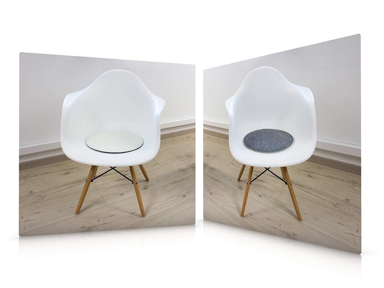 Luxflair Sitzkissen Sitzkissen Sitzkissen 4er Set Filz Rund 35cm, 2-Farbig  Dunkelgrau Graumeliert, Zum Wenden. Gepolstert, Bei 30°C Waschbar. Sitzpolster für Stühle, Bänke b56029