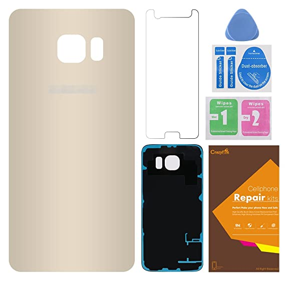Rear Back Glass Cover Back Battery Door Replacement for Samsung Galaxy S6,CrazyFire Back Housing