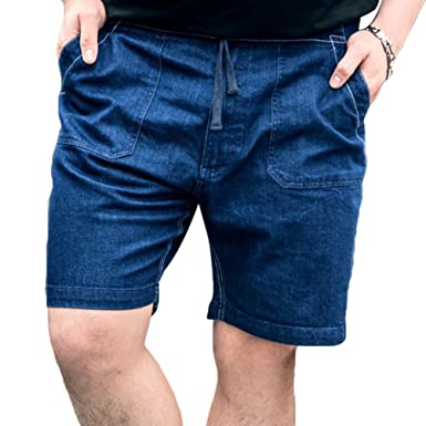 09f84c97e4b0 Anguang Herren Plus Größe Jeans Hose Sport Jogging Ausbildung Kurze Hose  Elastisch Denim Reißverschluss Hose  Amazon.de  Bekleidung