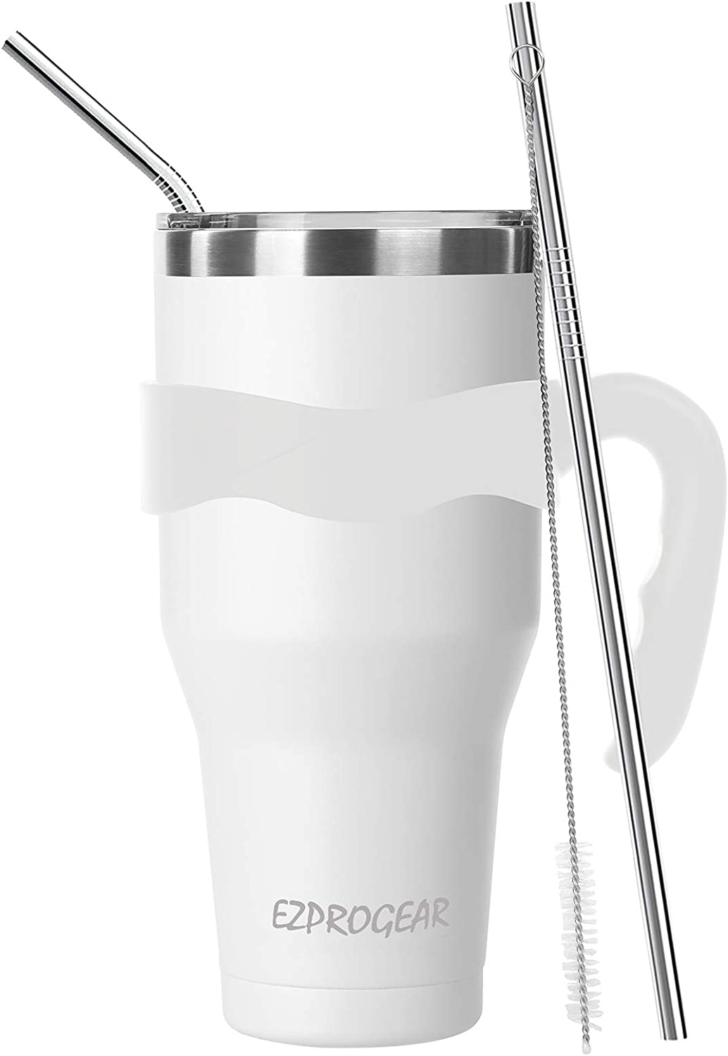Ezprogear 40 oz Stainless Steel White Beer Tumbler Double Wall Vacuum Insulated with Straws and Handle (40 oz, White)