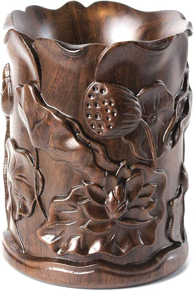 Jia He Titular de la Pluma Ebony Lotus portaplumas Grabado de Madera Maciza Registro de Caoba Pluma Adornos Adornos Regalos de Oficina @@