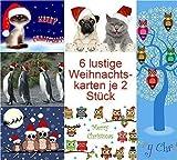 12 lustige Weihnachtskarten (Katze bis Möpse)