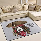 ALAZA Vinatge Spaniel Dog in Pirate Hat Sugar Skull Area Rug Rugs for Living Room Bedroom 5'3 x 4′ Review