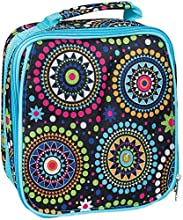 Blue Vibrant Medallion Water Resistant Zipper Closure Insulated Soft Cooler Lunch Bag