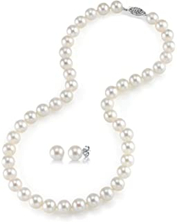 f7a9bd4b8 THE PEARL SOURCE 14K Gold AAAA Quality Round White Freshwater Cultured Pearl  Necklace & Earrings Set