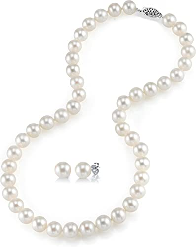 """17/"""" Sterling Silver 7-8mm Round White Freshwater Cultured Pearl Chain Necklace"""