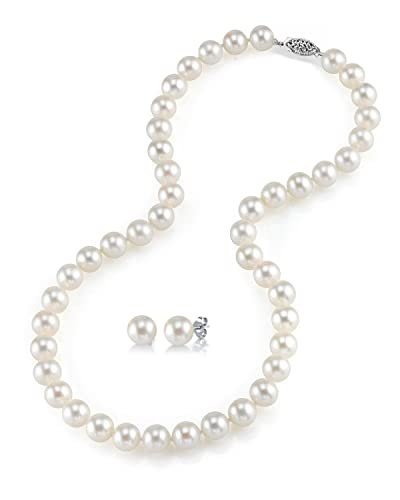 bb7e96ed54601f THE PEARL SOURCE 14K Gold 6.5-7mm AAAA Quality Round White Freshwater  Cultured Pearl Necklace