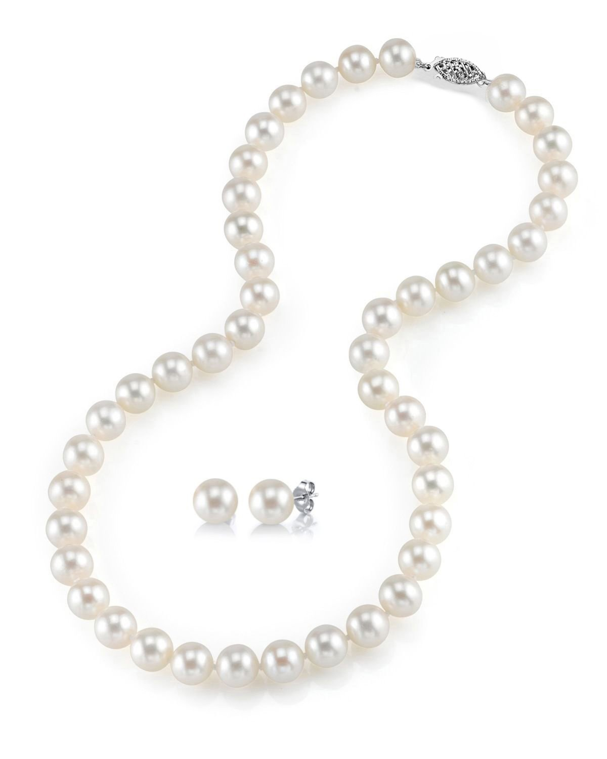 THE PEARL SOURCE 14K Gold 7-8mm Round White Freshwater Cultured Pearl Necklace & Earrings Set in 24'' Matinee Length for Women