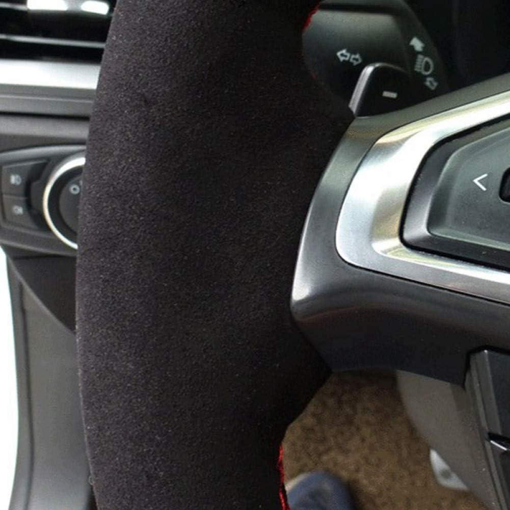 KAIQMLYA Couvre Volant en Daim Noir Cousu Main pour BMW E46 M3 E39 330i 540i 525i 530i 330Ci 2001 de 2002 /à 2003