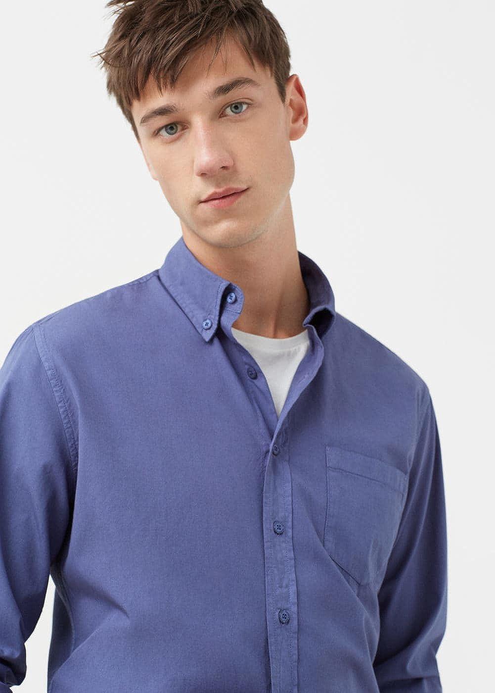 MANGO MAN - Camisa casual - para hombre azul indigo L: Amazon.es: Ropa y accesorios