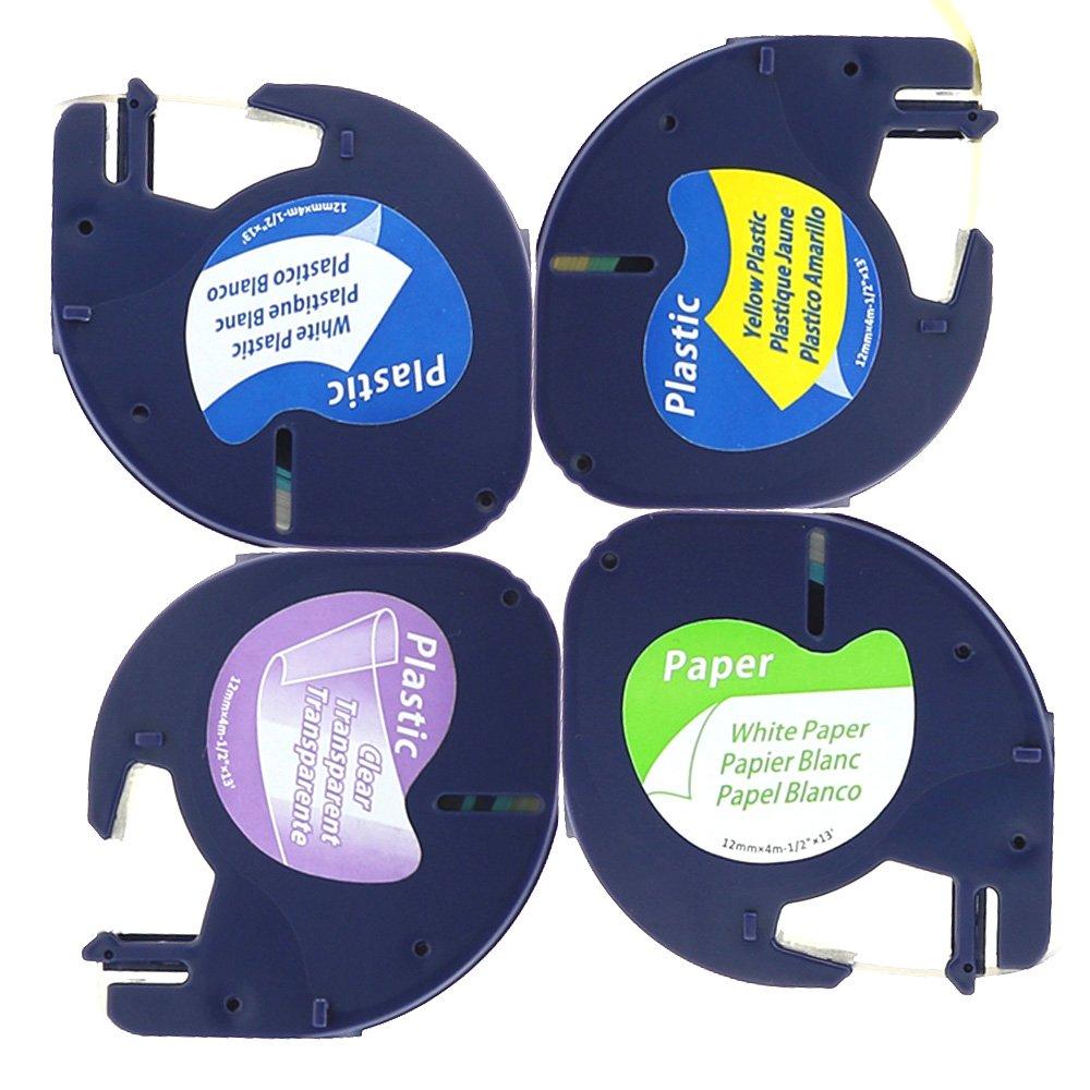 L'assortiment de 4 Rubans Cassettes 91200 Papier Noir sur Blanc / 12267 Plastique Noir sur Transparent / 91201 Plastique Noir sur Blanc / 91202 Plastique Noir sur Jaune / 12mm x 4m Pour Dymo LetraTag LT-100H LT-100T LT-110T QX 50 XR XM 2000 Plus Unistar