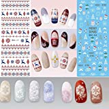 CHARMING Christmas Holiday Assortment Water Slide Nail Art Decals Santa Claus Snowman Pattern Manicure Transfer Sticker 10Packs